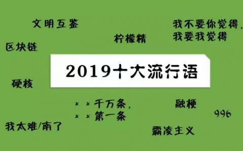 2019年度流行语大全出炉
